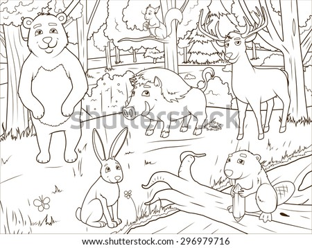 Forest Cartoon Animals Coloring Book Educational Game Vector Illustration