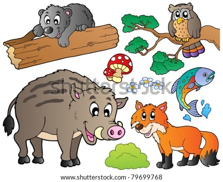 Forest cartoon animals set 1 - vector illustration. - stock vector