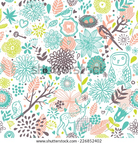 Forest concept cartoon seamless pattern with Deer, Birds and Owl in vector. Seamless pattern can be used for wallpapers, pattern fills, web page backgrounds,surface textures - stock vector
