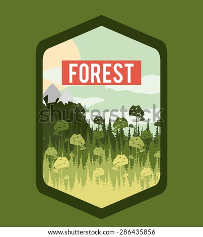 Forest design over green, background, vector illustration - stock vector