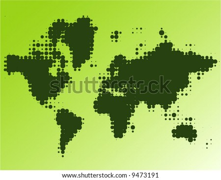 forest dotted worldmap - vector - - stock vector