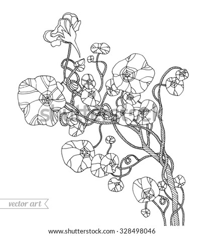 Forest exotic jungle plant, tropical liana. Vector. Zentangle. Hand drawn artwork. Bohemia concept for invitations, cards, tickets, branding, logo label. Coloring book page for adults. Black and white - stock vector