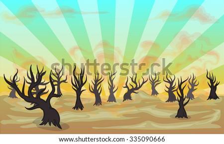 forest fire vector cartoon illustration - stock vector