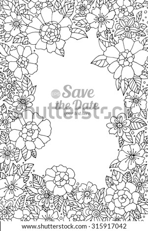 Forest Flowers Vector Coloring Book Pages Hand Drawn Artwork Love Bohemia Concept For