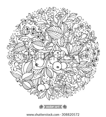 Forest flowers, wild berries and fruits. Vector. Hand drawn artwork. Love bohemia concept for wedding invitations, cards, tickets, congratulations, branding, boutique logo, label. Black and white - stock vector
