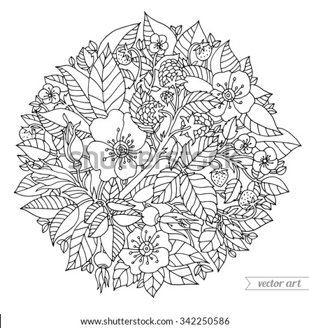 Forest flowers, wild berries, fruits, leaves. Vector artwork. Coloring book page for adult. Love bohemia concept for wedding invitation, card, ticket, branding, boutique logo, label. Black and white - stock vector