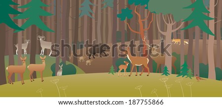 Forest full of animals - stock vector