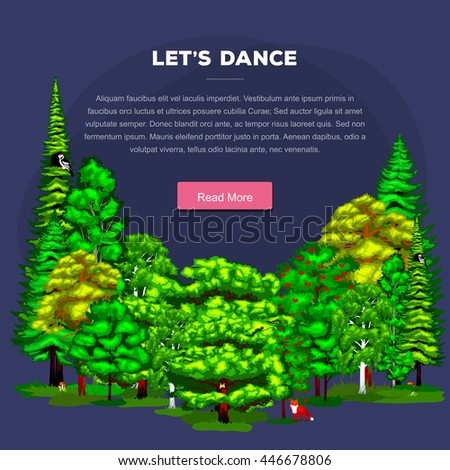 Forest green trees on the grass bush in summer landscape background. Nature landscape design elements isolated with green trees, grass bush and animals. Isolated ecology natural wood trees set vector. - stock vector