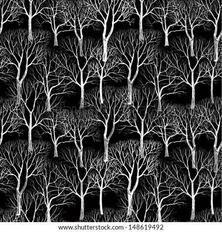 Forest in winter seamless vector pattern. Tree without leaves isolated on brown background. Plant seamless texture of the branches on the beige background  - stock vector