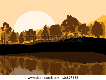 Forest landscape with trees and reflection in water vector background - stock vector