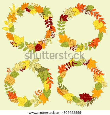 Forest Leaves Wreaths Frames Autumn Fall Stock Vector 309422555 ...