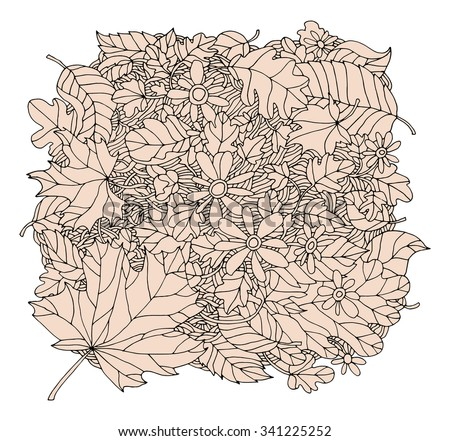 Forest maple, oak, linden leaf, chamomile flower, grass field. Vector hand drawn artwork. Bohemia concept for invitation card, ticket, branding, logo, label. Black, white, beige - stock vector