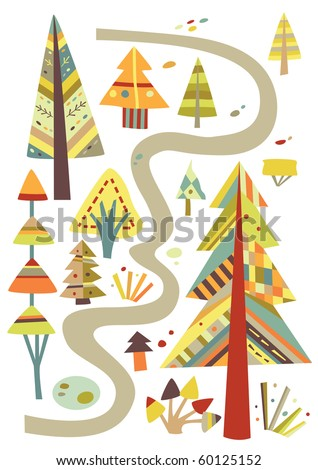 Forest path with trees, all in a geometric style with cheerful colors. - stock vector