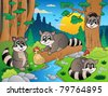 Forest scene with various animals 7 - vector illustration. - stock vector