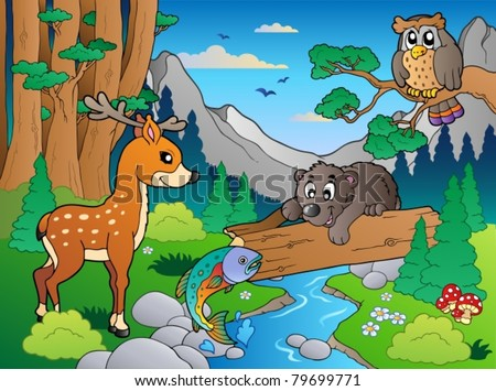 Forest scene with various animals 1 - vector illustration. - stock vector