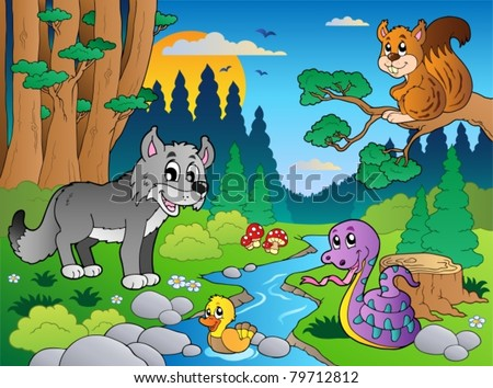Forest scene with various animals 5 - vector illustration. - stock vector