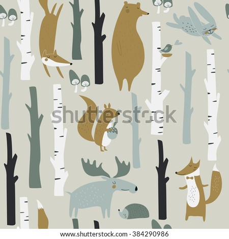 Forest seamless background with cute fox, bear, bunny, elk, hedgehog, birds, mushrooms and trees in cartoon style - stock vector