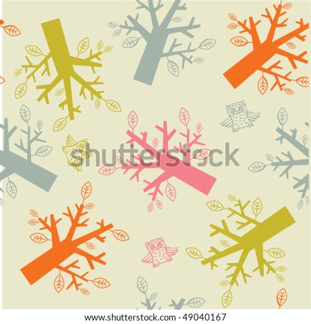 forest seamless pattern - stock vector