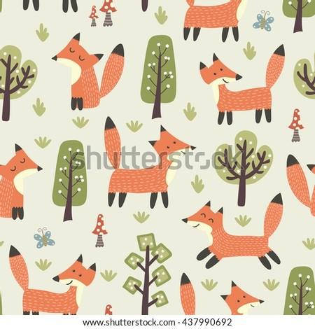tribal seamless pattern cute animals vector stock vector 394699936