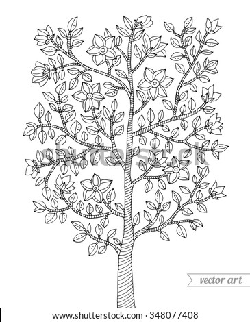 Forest Tree Bush Flowers Blossom Branch With Leaves Vector Coloring Book