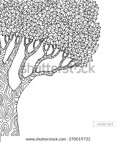 Forest tree isolated, big old tree. Vector botany detailed artwork. Coloring book page for adult. Bohemia concept for invitation, card, ticket, branding, logo, label, emblem. Black and white - stock vector