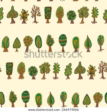 forest tree. Seamless hand-drawn pattern - stock vector