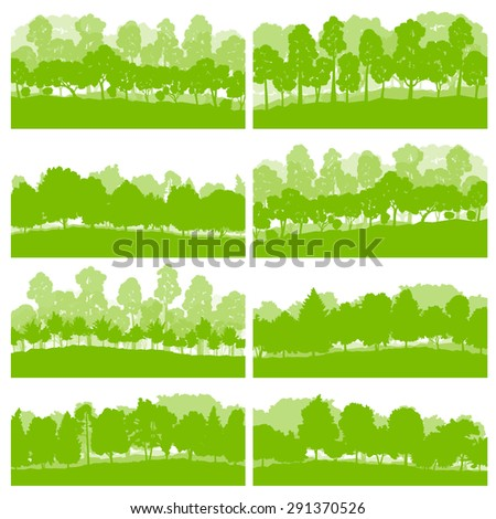 Forest trees and bushes wild nature silhouettes landscape illustration collection background vector set green ecology concept - stock vector