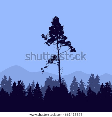 forest trees mountains silhouette template pine stock vector