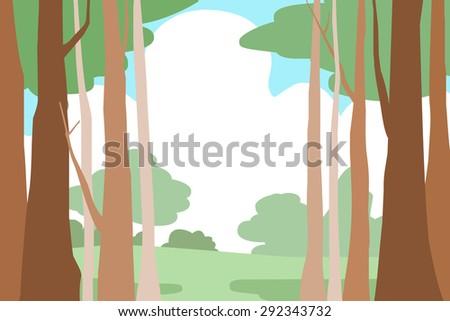 forest trees landscape  vector background illustration - stock vector