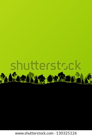 Forest trees silhouettes landscape ecology illustration background vector - stock vector