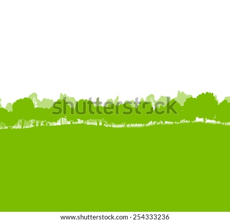 Forest trees silhouettes landscape illustration background ecology vector concept - stock vector