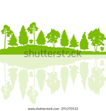 Forest trees wild nature silhouettes landscape illustration background vector ecology concept with abstract reflection in water - stock vector
