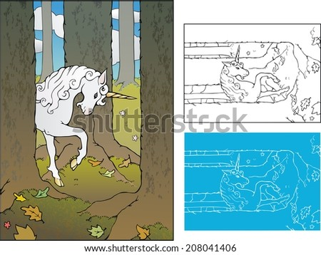 Forest unicorn, four layers - stock vector