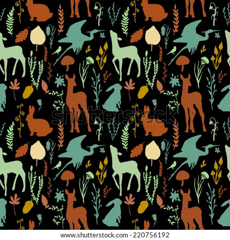 Forest wildlife seamless pattern. Black background with deer, birds, plants and mushrooms. Vintage hand drawn texture. - stock vector