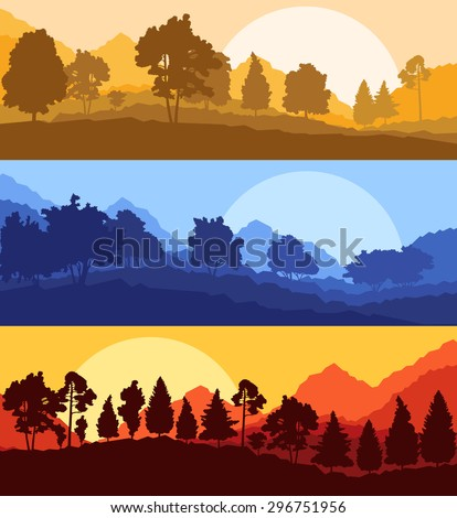 Forest wood mountain background vector set concept landscape - stock vector