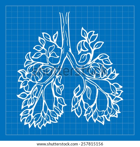 Forests are our planet's lungs. EPS10 vector illustration imitating blueprint style scribbling with white marker. - stock vector