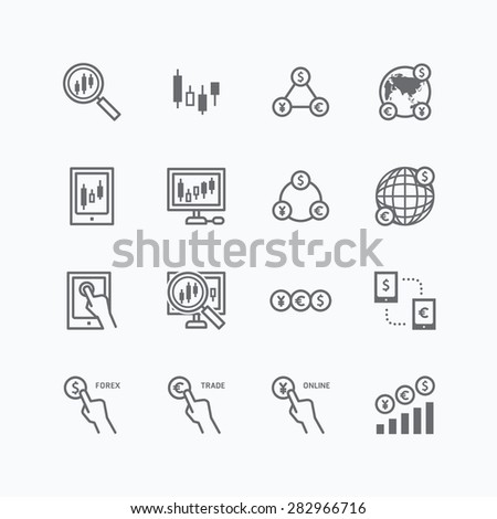 forex vector flat icons set of business finance online trading outline concept. - stock vector
