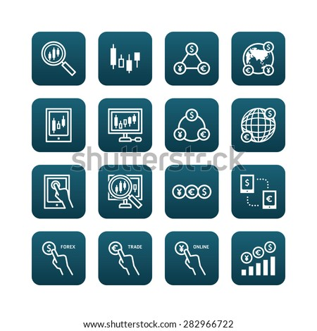 forex vector flat icons set of business finance online trading web button concept. - stock vector