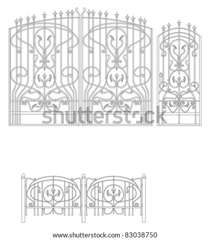 Forged gate for a protection - stock vector