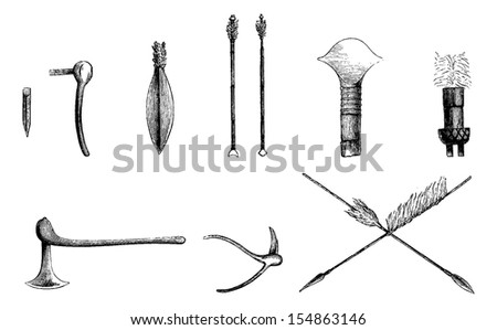 Forged Metal Products Between the Atlantic and Bie in Angola in Southern Africa, engraving based on the English edition, vintage illustration. Le Tour du Monde, Travel Journal, 1881 - stock vector