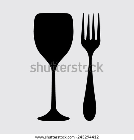 Fork and glass on a grey background - stock vector
