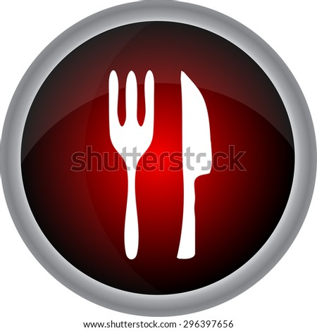 Fork and spoon icon isolated on white background