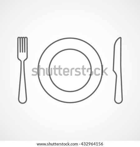 Fork, Dish and Knife Line Icon On White Background - stock vector