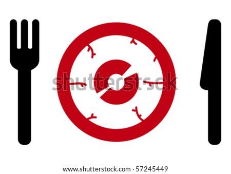 Fork, eye, knife. - stock vector