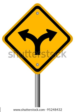 Fork in the road sign, vector illustration - stock vector