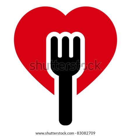 Fork into heart shapes tree - stock vector