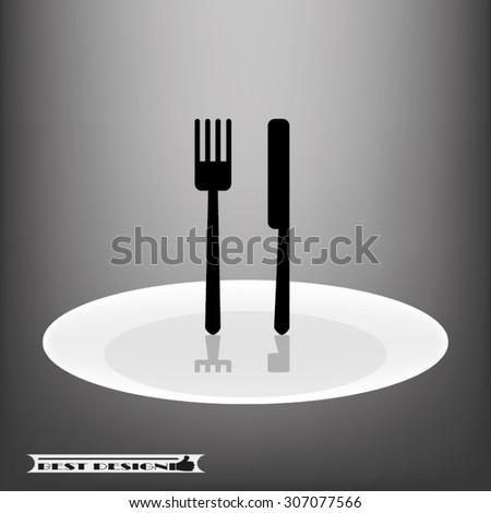 fork knife plate - stock vector