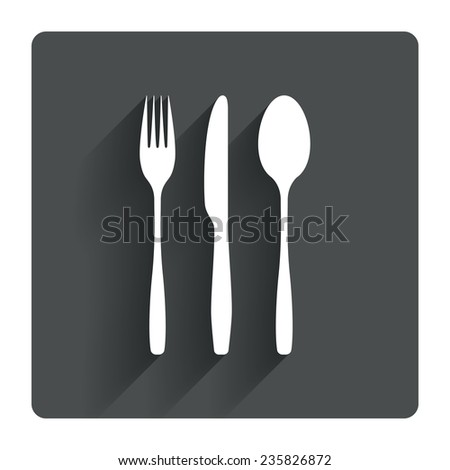 Fork, knife, tablespoon sign icon. Cutlery collection set symbol. Gray flat square button with shadow. Modern UI website navigation. Vector - stock vector