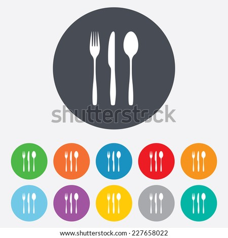 Fork, knife, tablespoon sign icon. Cutlery collection set symbol. Round colourful 11 buttons. Vector - stock vector