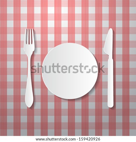 Fork, Plate and Knife Made from Paper on Tablecloth - stock vector